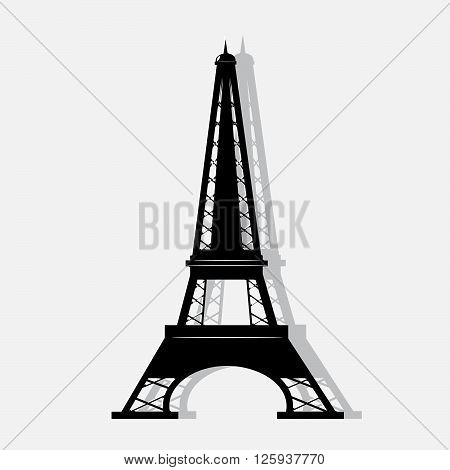 icon of the Eiffel Tower. A silhouette of the Eiffel Tower on a gray background