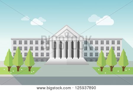 Front view of university or government building in flat style