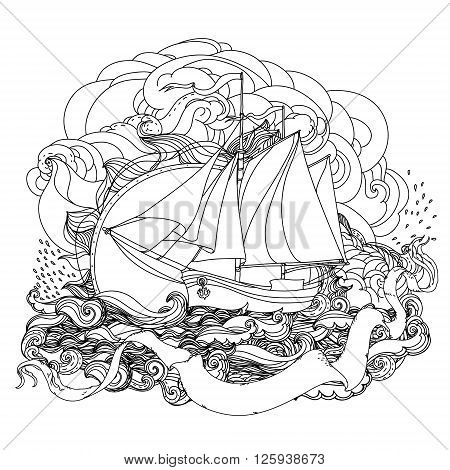 Sailboat on the background of sea and ribbon for text. Adult coloring book famous zenart style. Hand-drawn, retro, doodle, vector, uncoloured. The best for design, textiles, cards, coloring book