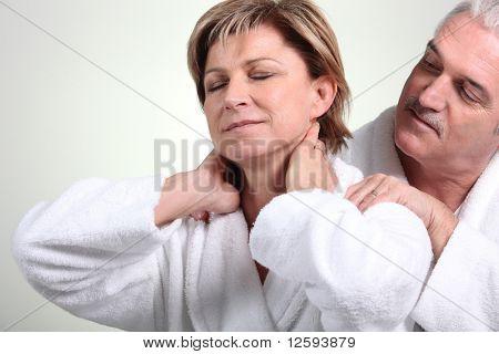 Senior couple relaxed in bathrobe
