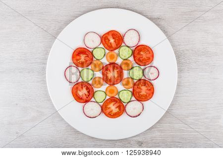 Slices Of Tomatoes, Radishes, Carrots And Cucumbers In White Plate