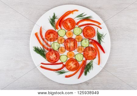 Slices Of Miscellaneous Vegetables And Dill In White Glass Plate