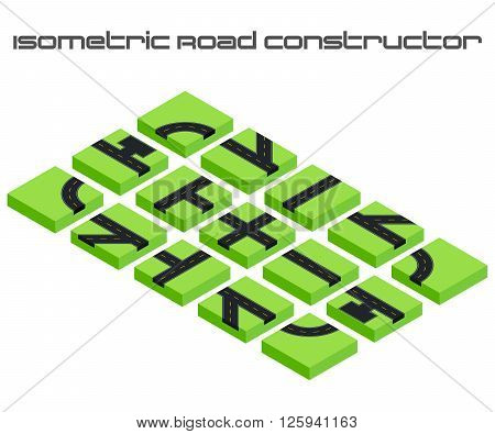 Isometric vector roads constructor. Kit to create your 3D city or street map. For your infographic or business design.