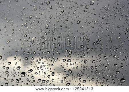Water Drops On A Window Glass, Rainy Day