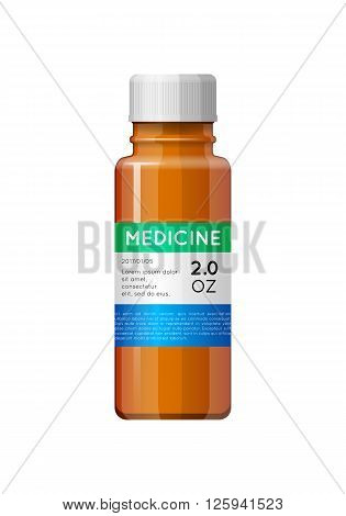 Medicine bottle with label. Empty bottle for drugs, tablets, capsules, prescriptions, vitamins etc. Pharmaceutic container isolated on white background