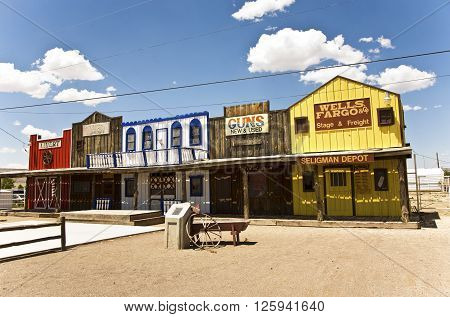 SELIGMAN USA - JUL 8 2008: The Historic Seligman depot in Seligman AZ USA on Historic Route 66. Built in 1904 today Seligmans depot is the best original western facade all over Route 66.