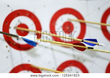 Targets In Row On Archery Practice With Arrows
