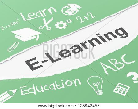 3d renderer image. Torn paper with e-learning. Education concept.