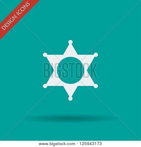 Sheriff star. Flat design style eps 10