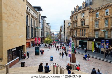 GLASGOW, SCOTLAND- AUGUST 12, 2015: View from Glasgow city center main steet. Traveling in Europe