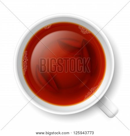 Cup of black tea with tea leaves at the bottom over white background