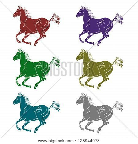 A set of graphic symbols in the form of galloping horses. Vector illustration on a white background. The contours halophilous horses colored.
