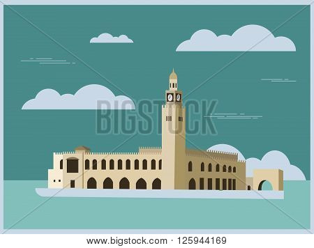City buildings graphic template. Kuwait. Vector illustration