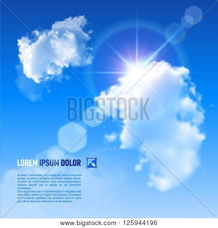 Blue Sky with fluffy clouds and brilliant Sun with a rainbow flare vector image