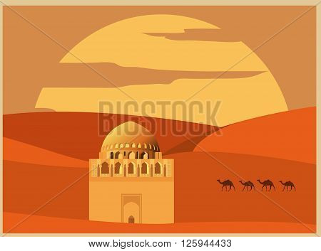City buildings graphic template. Turkmenistan. Vector illustration