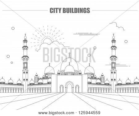 City buildings graphic template. UAE mosque. Vector illustration