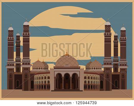 City buildings graphic template. Al Saleh mosque. Yemen. Vector illustration