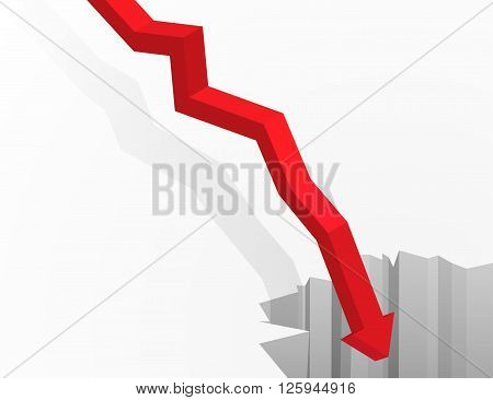 Financial and economic crisis graph concept. Arrow going in to the deep abyss. Isometric vector illustration