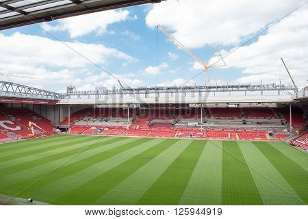 LIVERPOOL, ENGLAND - July 16th 2015: A view of Anfield, home to Liverpool Football Club with the new stand being erected in the foreground