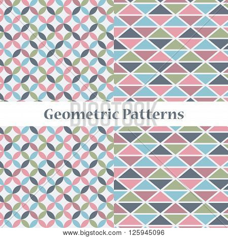 Set of two gentle delicate geometric patterns