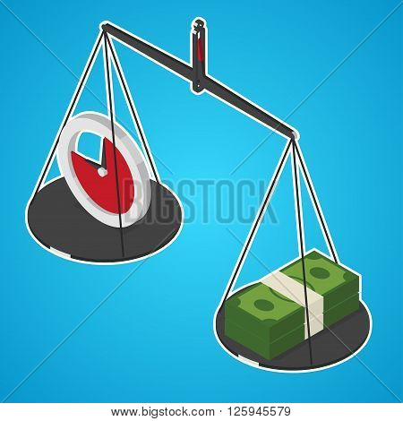 Time is money concept. Time and stack of money on libra plates. Isometric vector illustration