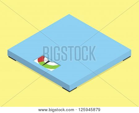 Minimalistic analog floor scales. Isometric vector illustration