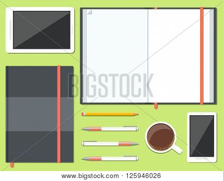 Set of opened and closed sketchbook or notebook with pencil, pen, mobile phone, tablet and cup of coffee in top view. Vector illustration
