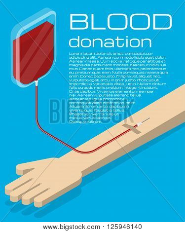 Blood donation. Blood transfusion. Isometric vector illustration