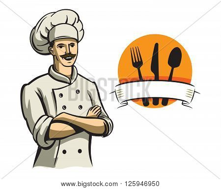 vector color happy chef on white background