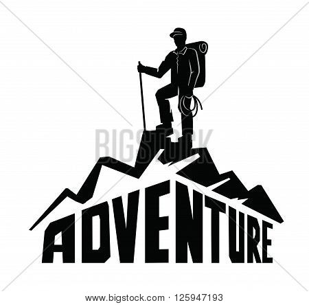 vector black climber on a mountain  white background