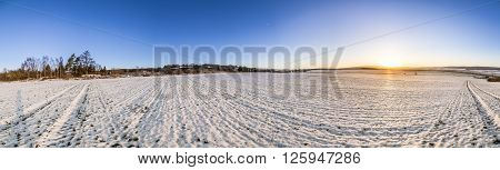 Winter Landscape With White Covered Fields