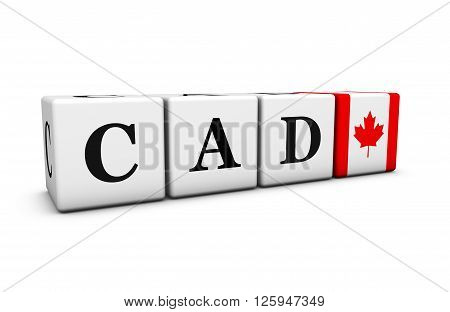 Currency rates exchange market and financial stock concept with CAD Canadian dollar code and the flag of Canada on cubes isolated on white 3D illustration.