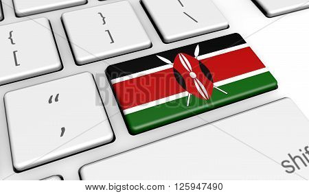 Kenya digitalization and use of digital technologies concept with the Kenyan flag on a computer keyboard 3D illustration.