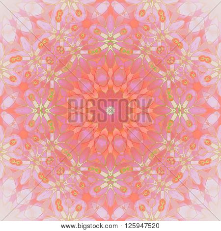 Abstract geometric seamless background. Floral circle ornament in orange, pink and violet shades with bright green elements, ornate and dreamy.