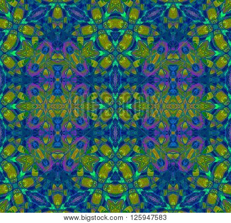 Abstract geometric seamless background. Ornate ellipses and diamond pattern in purple, dark blue and green shades with orange elements, extensive and intricate.