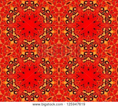 Abstract geometric seamless background. Ornate hexagon pattern red with elements in yellow, orange and black, dominant and extensive.