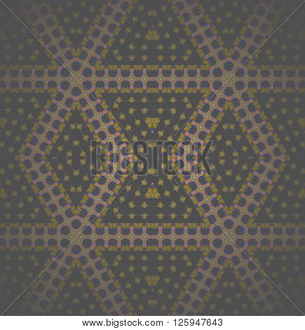 Abstract geometric seamless background. Modern regular diamond pattern in brown and yellow shades with dark blue and purple elements, shiny, centered and blurred.
