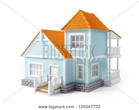 victorian cartoon family house isolated on white. 3D Illustration.