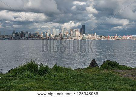 A view of the Seattle skyline across Elliott Bay.