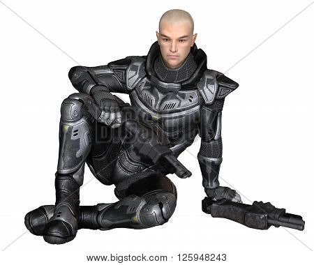 Science fiction illustration of a male future soldier in protective armoured space suit, sitting holding pistols, 3d digitally rendered illustration (3d rendering, 3d illustration)