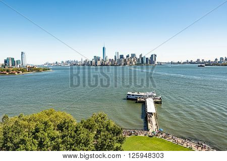 Scenic View From Ellis Island To Downtown New York