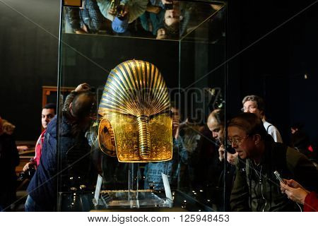 CAIRO, EGYPT - 007 JANUARY 2016 : Tutankhamen's Mask in Egyptian Museum in Cairo. It is main attraction object of the Museum.