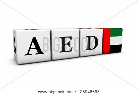Currency rates exchange market and financial stock concept with AED United Arab Emirates dirham code and the Emirati flag on cubes isolated on white 3D illustration.
