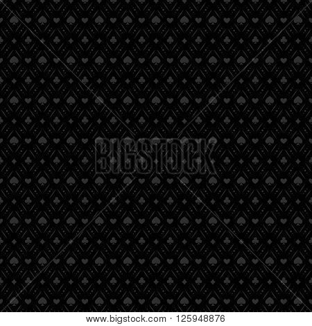 Black seamless casino gambling poker background or dark   pattern and cards symbols