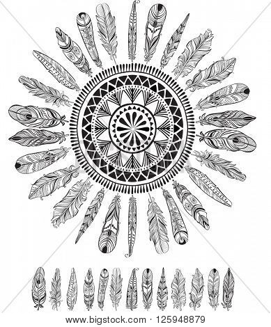 Round pattern with feathers in native style
