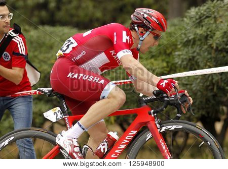 BARCELONA - MARCH, 27: Alexey Tsatevich of KATUSHA Team rides during the Tour of Catalonia cycling race through the streets of Monjuich mountain in Barcelona on March 27, 2016