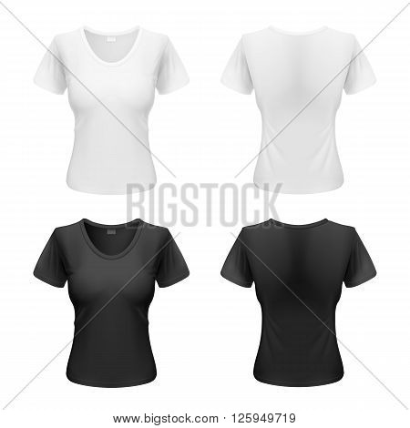 Womens black and white T-shirts isolated on a white background