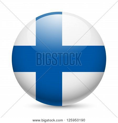 Flag of Finland as round glossy icon. Button with Finland flag