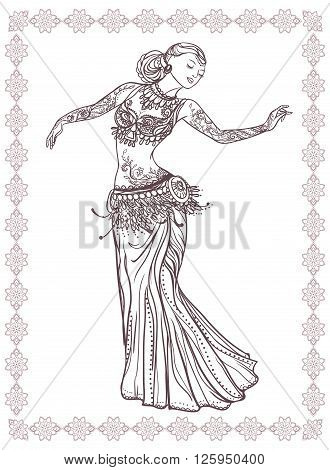 Ornament beautiful card with girl belly dance. Mehenidi element hand drawn. Perfect  cards for any other kind of design, oriental dance, kaleidoscope,  medallion, yoga, india, arabic