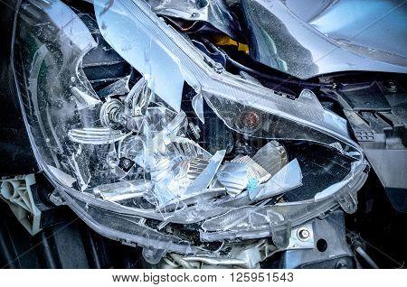 Car crash background, Selective focus Close up image
